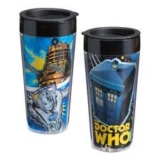 "DR WHO Sci-Fi TV Series TARDIS 16oz PLASTIC TRAVEL MUG 3-1/2"" x 7"" Tall 1 Pc New"