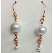 Copper and Crystal Glass Pearl Earrings SKU# 03937