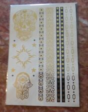 Temporary JewelryTattoos-1 Sheet-Sugar Skull Tattoo Included-Other Tattoos Also