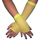 Fishnet Fingerless Gloves Neon Yellow Armwarmers GOTH club EMO costume 80s