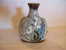 "VTG KEN EDWARDS FLAT BUD VASE, 7""X5.5"", SIGNED/STAMPED,BIRDS AND BUTTERFLIES"