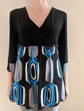 Susan Lawrence Women's V Neck Retro Blue Black Grey Print 3/4 Sleeve Top Size S
