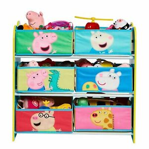 Peppa Pig Niños Almacenaje Unidad Seis Tela Papeleras Toy Organizador Playroom
