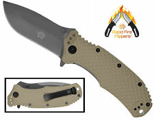 OFF-GRID KNIVES - Rapid Fire Coyote - Assisted - Cryo AUS8, TiNi with FRN Handle