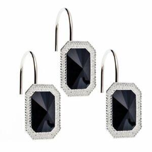 """Tiffany"" Bejeweld Resin Shower Curtain Hooks in Black"