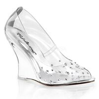 Fabulicious LOVELY-420RS Women's Clear Peep Toe Wedge High Heel Rhinestone Pumps