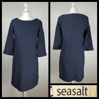 Seasalt Drennick Tunic Dress Blue Grey Nautical Stripe 3/4 Sleeve Cotton UK 10