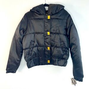 Baby Phat BNWT Rare Y2K Vintage Women's Black Crop Puffer Bomber Jacket Size Sml