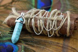 sterling silver turquoise dowsing pendant chain , healing chakra gemstone
