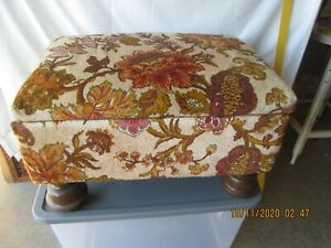 Vintage Floral Upholstery Ottoman with Storage Foot Stool Bench Tan/Brown