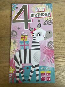Happy 4th Birthday Greetings Card Girl Zebra Cartoon Luxury Silver Foil Cute