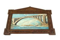VERY RARE ANTIQUE ITALIAN TRAIN BRIDGE PAINTING IN TRAMP ART FRAME  ABOUT 1880