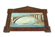 VERY RARE ANTIQUE ITALIAN TRAIN BRIDGE PAINTING IN TRAMP ART FRAME  ABOUT 1880