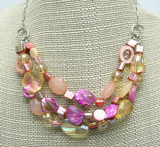 New Genuine Shell Necklace Earring Set in Coral Peach & Pink Tones #N2340