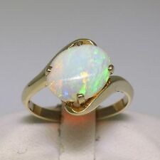 14k Yellow Gold 9.75x11.95mm FIERY Australian Opal Solitaire Bypass Band Ring