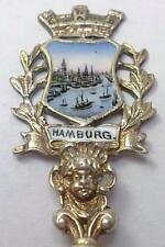 Antique/Vintage Gilt Metal & Enamel Hamburg Souvenir Spoon – c 1910