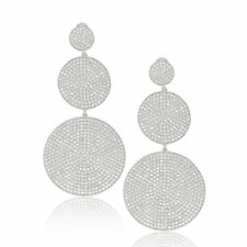 Suzy Levian Sterling Silver Cubic Zirconia Dangling Omega Back Earrings