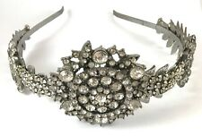 Handmade bridal headband with clear sparkling vintage rhinestones