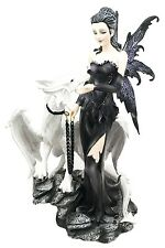 "Gothic Dark Fairy Sorceress With Chained White Young Dragon Figurine 10"" Height"