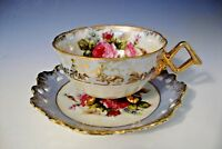 Vintage Opalescent  Fancy Handle Porcelain Footed Cup/Lattice Saucer -Pink Roses