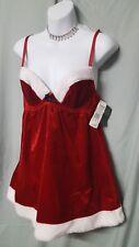 SHORT SEXY VELVET RED W/WHITE TRIM SANTA  BABYDOLL & PANTY SIZE MEDIUM GIFT