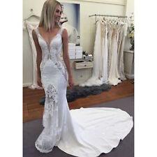 Satin V Neck Sleeveless Wedding Dresses
