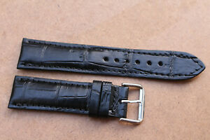 22mm/18mm Genuine Crocodile Alligator Skin Leather Watch Strap Band With Buckle