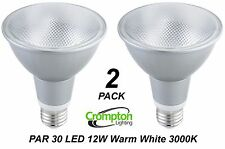 2 x Crompton LED PAR30 Floodlight Globes / Bulb 12W 240V E27 Warm White 3000K