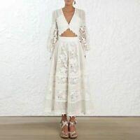 New Arrival Zimmermann Dress V-neck Lace Women Midi Dress Lantern Sleeve Dresses