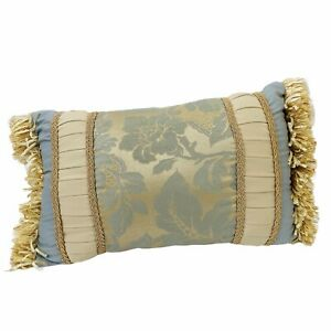 Gray Gold Brocade Style Accent Pillow Fringe Rectangle Home Decor Cotton 11 x 17
