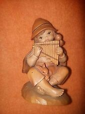 ANRI (Ferrandiz)  Rare Wood carved - Boy playing the mouth organ - KUNO BIERLING