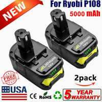 2-Pack 18V 5.0Ah P102 P105 P107 P108 Lithium Battery for Ryobi 18-Volt ONE+ Tool