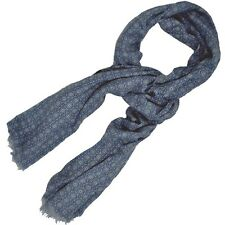 NWT Battisti Napoli Silk and Wool Scarf Navy Blue Medallion Made in Italy