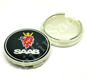 1 X Saab Black Alloy Wheel Centre Hub Cap 62mm 63mm 93 9-3 95 9-5 900 9000