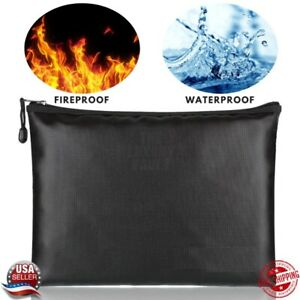 Fireproof Waterproof Document Bag Money Cash File Envelope Safe Zip Case Pouch