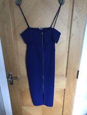 Asos Midnight Blue Midi Dress Zip Detail Size 14