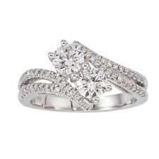 1.20 CT. T.W. Eternally Us 2-Stone Diamond Ring in 14K White Gold Size7