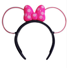 2 PCS Light-Up Mickey Minnie Mouse Headbands Ears LED Blinking Flashing Favors