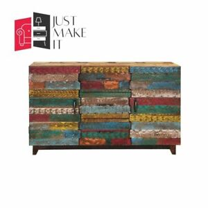 MADE TO ORDER Hand Carved Indian Handmade Solid Wood Multicolor Sideboard Floral