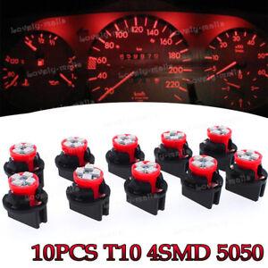 10Pcs Red T10 168 Instrument Panel Gauge LED Light Bulb +194 Twist Lock Socket