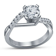 Cut Diamond Ladies Solitaire Engagement Ring 14K White Gold Over 1.30 Ct Round