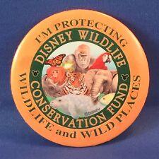"DISNEY Wildlife Conservation Fund BUTTON Pin, 3"" I'm Protecting Wildlife 1990's"