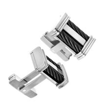 Black Cable inlay Titanium Cufflinks with twisted