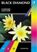 20 A4 Sheets Black Diamond Glossy Canvas Texture Inkjet Photo / Art Paper 220gsm