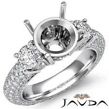 3 Stone Diamond Engagement Eternity Ring 14k White Gold Round Semi Mount 2.6Ct