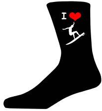 I Love Surfing Picture Socks. Black Cotton Novelty Socks. Adult UK 5-12