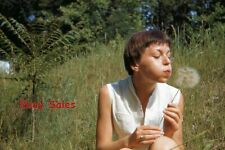 #A2 d Amateur 35mm Slide-Photo- Short Haired Woman Blowing on Weed- 1959