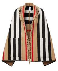 Burberry Women Icon Stripe Wool Cashmere Jacquard Cape Poncho Beige NWT!! $1250