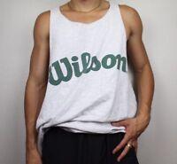 21946bd6bbfb9 Wilson 90s Athletic Tank Muscle Shirt Sleeveless Logo White Gray Green 2XL   K