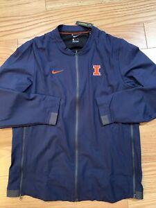 Nike NCAA Illinois Fighting Illini Full Zip Jacket On Field Sz L Rare 926122-419